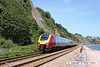 080630-005     Cross Country Trains class 221, super voyager no. 221124 speeds along the sea wall at Teignmouth with the 14.01 Paignton - Newcastle.