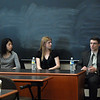Yuka Teraguchi (J.D. '08), current clerk to the Honorable Randall Rader; Christina Jordan (J.D. '06), current clerk to the Honorable Kimberly Moore; and Douglas Hoffman (J.D. '07), current clerk to the Honorable Haldane Robert Mayer spoke with students about their experiences and gave guidance and tips on how to navigate their own application processes.