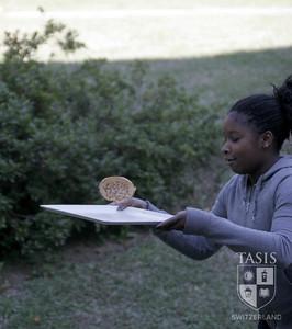 Catching a pancake during the De Nobili Annual Pancake Toss!