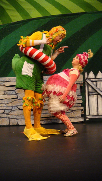 Duck (Andres Alcala) lectures Bird (Michelle Cunneen) in Childsplay's Peter and the Wolf.<br /> Photo Credit: Childsplay