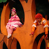 Bird (Michelle Cunneen) and Cat (Kelsi Zahl) hang out in the tree in Childsplay's Peter and the Wolf<br /> Photo Credit: Childsplay