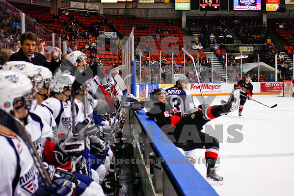 Prince George Cougars Jessey Forsberg turns his back on the Americans bench