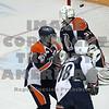 Mason Wilgosh pots a Valentine's day goal against Kamloops goaltender Jon Groenheyde.
