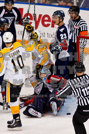 Wheat Kings celebrate a non goal early in the 3rd period