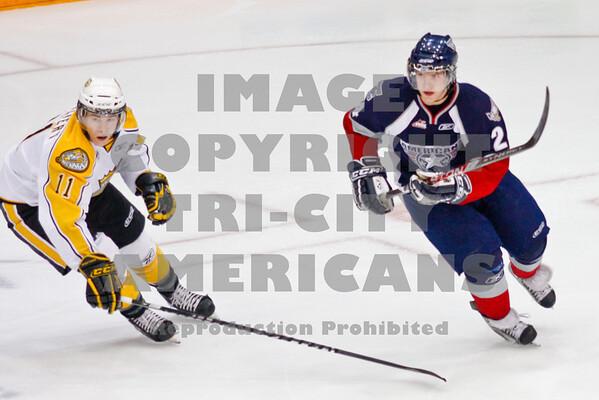 Brendan Shinnimmin makes a turn and avoided Matt Calvert's stick on the ice