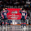 Unveilling Tri-City Americans second U.S. division banner at home opening game against the Kelowna Rockets
