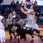 Albemarle's Andrew Frazier (21) collides with Brooke Point's #50 (not on roster). photo Ashley Twiggs