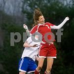 Crozet, March 15, 2010 - Albemarle's Lauren Brady heads the ball against Western. photo Ashley Twiggs