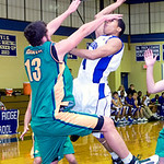 Australia's James Hunter (13) tries to block a shot by Blue Ridge's Chad Holley (4). photo Ashley Twiggs