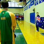 The Australian National Anthem is played before a game against the Australian National team at Blue Ridge. photo Ashley Twiggs