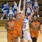 Western's Ellen Shaffrey (50) and Charlottesville's Olivia Levine (23) try for a rebound. photo Ashley Twiggs
