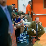 Charlottesville, Dec. 2, 2009 - Madison Head Coach Ben Breeden (please double check that I have him identified correctly) watches the court during a game against Charlotetsville. photo Ashley Twiggs
