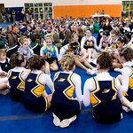 Teams await the scores during the Jefferson District Cheerleading Championships at Orange Co. High School on Thursday night. photo Ashley Twiggs