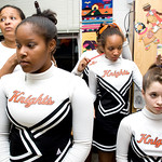 Charlottesville High School cheerleaders prepare for the Jefferson District Championships. Left to right, Pam Brown April Brown, Shay Johnson, Leah Brown, and Ellie Kayton put the finishing touches on their hair. photo Ashley Twiggs