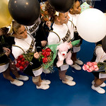 Monticello High School cheerleaders line up to enter the floor as each team is introduced during the Jefferson District Champtionships. photo Ashley Twiggs
