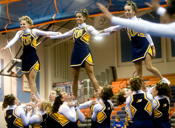 Fluvanna Co. High School cheerleaders compete in the Jefferson District Championships. photo Ashley Twiggs