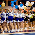 Western Albemarle High School, left, and Monticello High School, right, file off of the competition floor after each team is introduced at the Jefferson District Championships. photo Ashley Twiggs