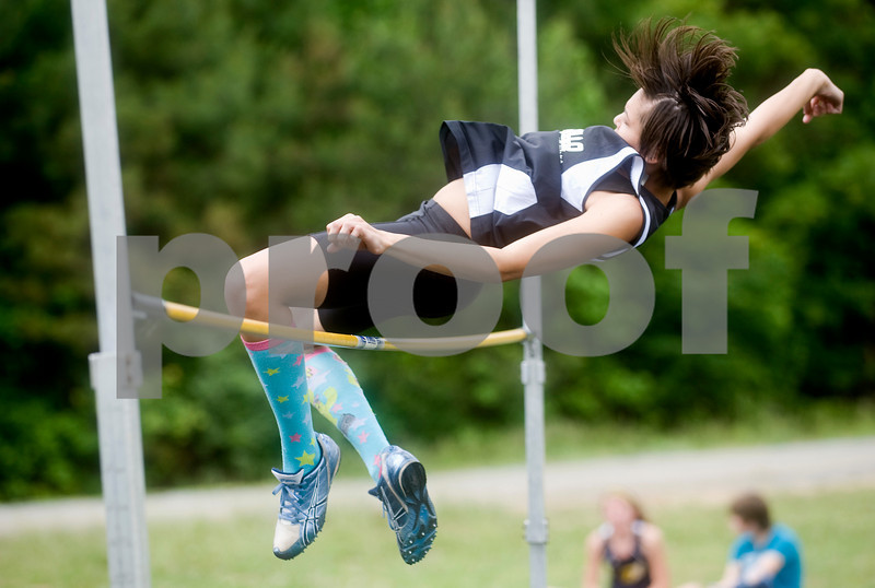 Mineral, Va., May 19, 2010 - Monticello's Kourtney Dowdell-Smith competes in the high jump. photo Ashley Twiggs