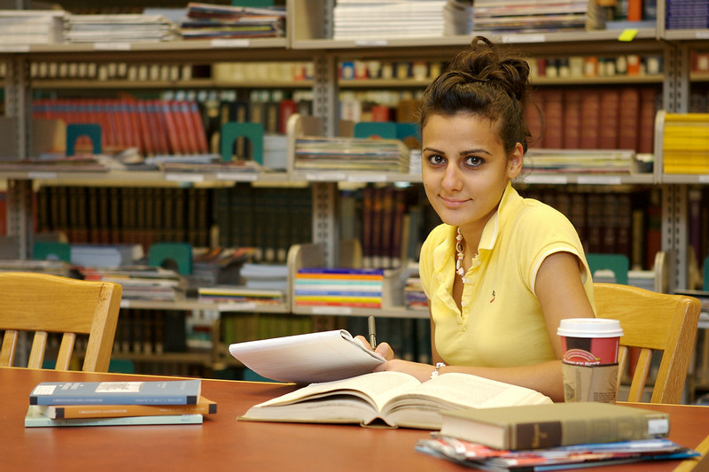 Library Interior, studying student