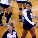 Monticello's Erica Watson (7) returns to the volleyball court during a game against Western. photo Ashley Twiggs