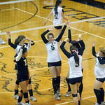 Monticello celebrates a point against Western. photo Ashley Twiggs