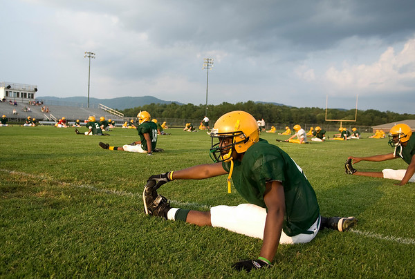 August 14, 2009 - Trevor Martin (4) stretches with the Nelson County High School Football team on Aug. 14, 2009. photo Ashley Twiggs3