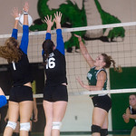 Western's Ana Asher, left, and Amanda Gough, right, block a shot by William Monroe's Katelyn Roach. photo Ashley Twiggs