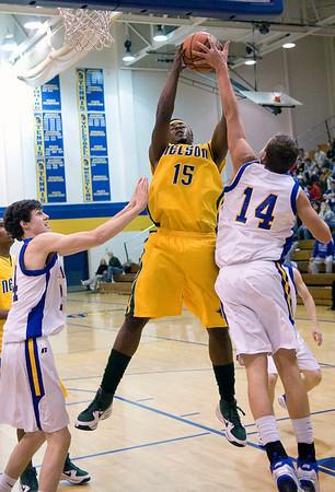 Western's Christian Pierce (14) tries to block a rebound by Nelson County's Trevor Martin (15). photo Ashley Twiggs