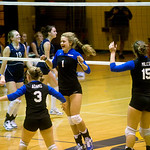 Western Albemarle celebrates a point against Flucos on Sept. 10, 2009. photo Ashley Twiggs
