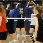 Western celebrates a point against Sherando during the Region II playoffs. photo Ashley Twiggs