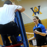 Western's Sarah Harper speaks with the stand judge about a call during a Region II playoff game against Sherando. photo Ashley Twiggs