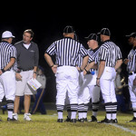 Oct. 2, 2009 - Louisa Head Coach, Mark Fischer, talks with refs at the half. photo Ashley Twiggs