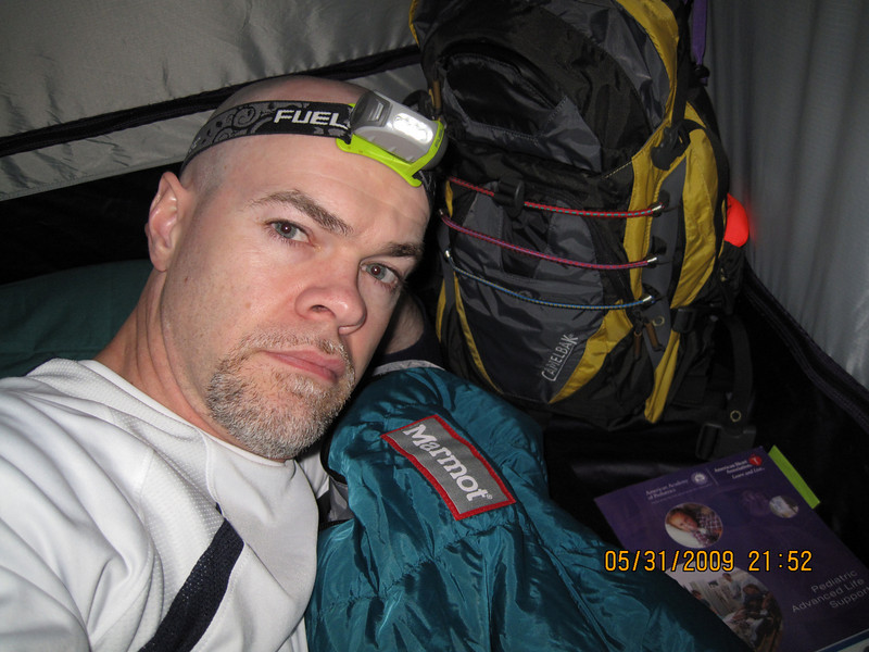 A very tired me, crashed in my tent for the night.  The sounds of a nearby stream  made this a very relaxing camp site.