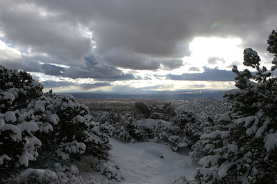 Looking out at Albuquerque from the snowy La Luz trail