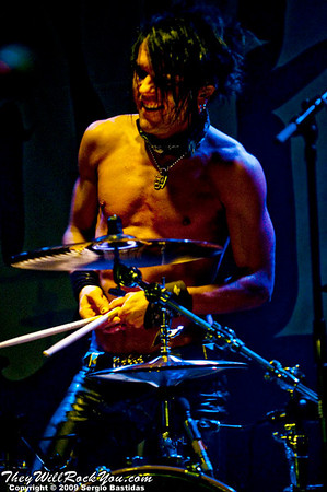 Jussi69, drummer for The 69 Eyes, prepares to throw his drumsticks to the crowd at the Key Club on Sunset Blvd in West Hollywood, Calif., on Tuesday night, Oct. 6, 2009. (Photo by Sergio Bastidas/Brooks Institute, 2009©)