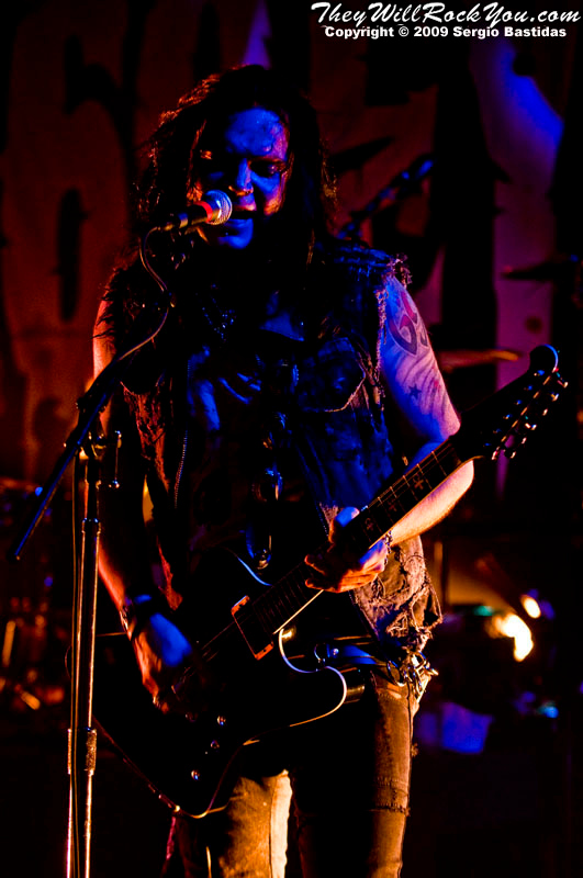 Bazie, guitarist of The 69 Eyes, plays guitar on stage at the Key Club on Sunset Blvd in West Hollywood, Calif., on Tuesday night, Oct. 6, 2009. (Photo by Sergio Bastidas/Brooks Institute, 2009©)