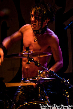 Jussi69, drummer for The 69 Eyes, waves at the fans at the Key Club on Sunset Blvd in West Hollywood, Calif., on Tuesday night, Oct. 6, 2009. (Photo by Sergio Bastidas/Brooks Institute, 2009©)