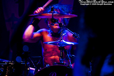Jussi69, drummer for The 69 Eyes, pounds on his drums at the Key Club on Sunset Blvd in West Hollywood, Calif., on Tuesday night, Oct. 6, 2009. (Photo by Sergio Bastidas/Brooks Institute, 2009©)
