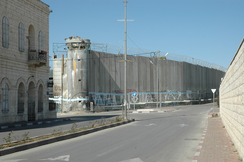 This part of the Israeli separation barrier separates Bethlehem from Jerusalem.  This view is from Bethlehem.