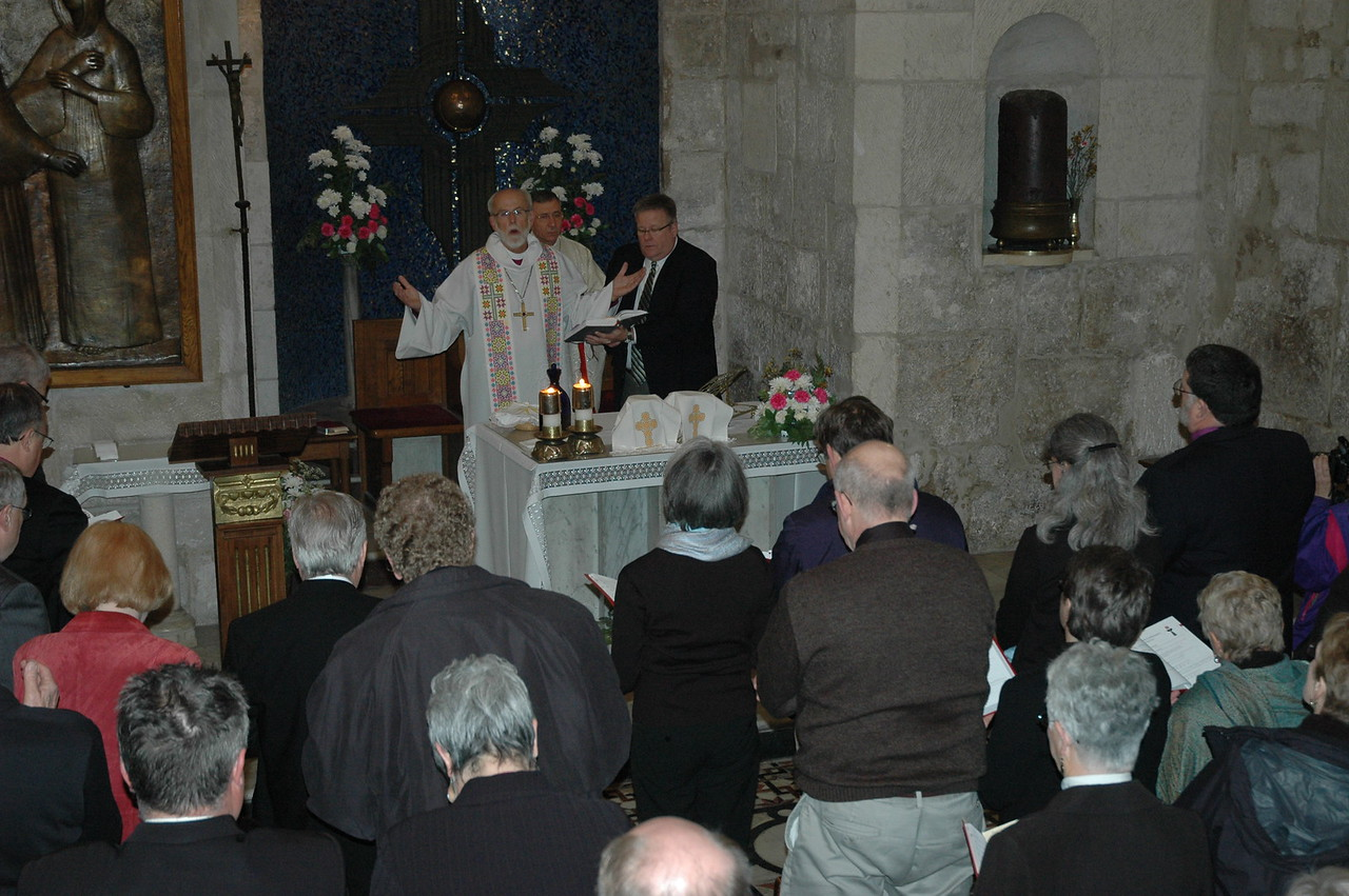 Bishop Mark Hanson opens worship Jan. 9 in a chapel at the Church of the Holy Sepulchre, Jerusalem.