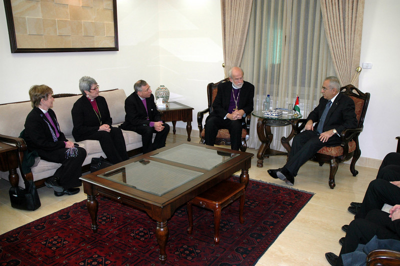 Meeting Jan. 13 in Ramallah with Palestinian National Authority Prime Minister Salam Fayaad, right, were, from left, Bishop Margaret Payne, ELCA New England Synod, ELCIC National Bishop Susan Johnson, ELCJHL Bishop Munib Younan and ELCA Presiding Bishop Mark Hanson.