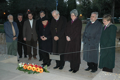 Lutheran bishops pray Jan. 13 at the Jerusalem grave site of Yitzhak Rabin, former prime minister of Israel.
