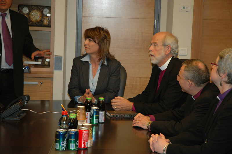 Ruhana Avraham, center, Israel's Minister of Tourism, met with North American Lutheran bishops Jan. 8 in Jerusalem.  With her, at right, is ELCA Presiding Bishop Mark Hanson, ELCJHL Bishop Munib Younan and ELCIC National Bishop Susan Johnson.