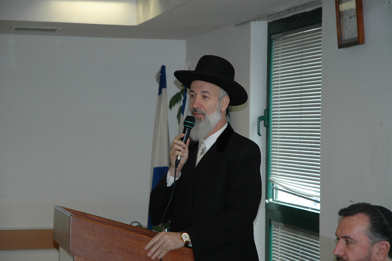 "One of Israel's two chief rabbis, Yona Metzger, addresses the North American Lutheran bishops Jan. 8 in Jerusalem.  Metzger, along with ELCA Presiding Bishop Mark Hanson, appeared in the 2007 CBS-TV special, ""In God's Name."""