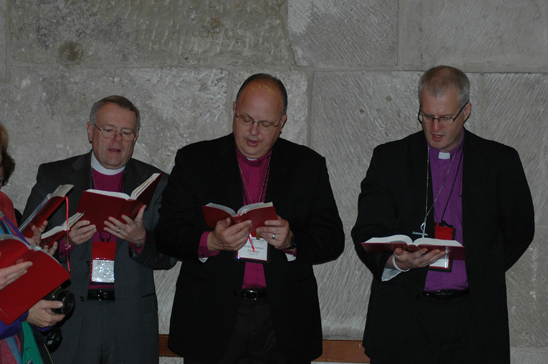 Participants in worship Jan. 9 at the Church of the Holy Sepulchre, Jerusalem, are, from left, Bishop Roy Riley, ELCA New Jerssey Synod; Bishop James Justman, ELCA East-Central Synod of Wisconsin; and Bishop Jon Anderson, ELCA Southwestern Minnesota Synod.