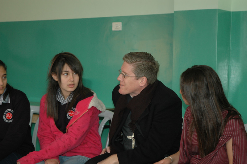 Bishop Michael Rinehart, ELCA Texas-Louisiana Gulf Coast Synod, converses with students at Evangelical Lutheran School of Hope, Ramallah, Jan. 12.