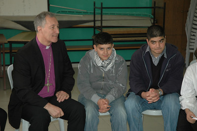 Bishop Duane Pederson, ELCA Northwest Synod of Wisconsin, listens in a meeting with students Jan. 12 at Evangelical Lutheran School of Hope, Ramallah.