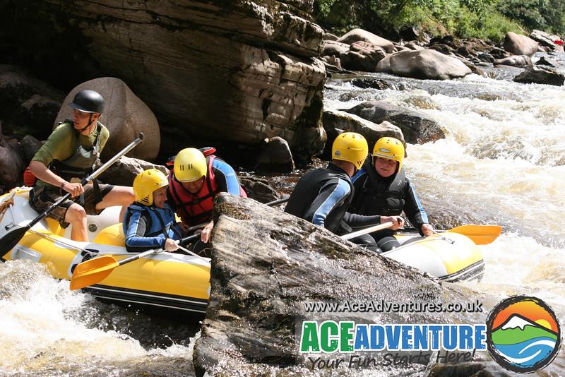 Wild rafting lower gorge River Findhorn