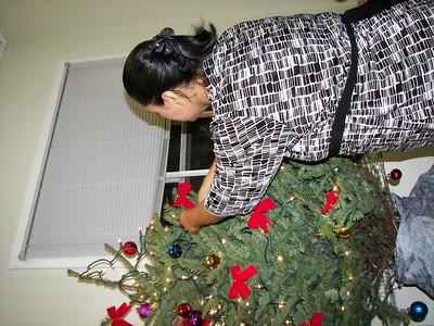 Shirley, our parish secretary, works on the tree.