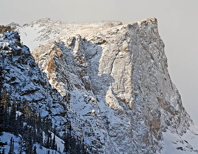 Early morning light on a frosted Hallet Peak - Feb 2009 3 vertical image stitch Rocky Mtn. National Park, Colorado